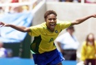 Brazil's Formiga celebrates her game winning shoot-out goal during the third place Women's World Cup match game against Norway on 10 July,1999 at the Rose Bowl in Pasadena, California. Brazi defeated Norway 5-4 on penalty kicks. (ELECTRONIC IMAGE) AFP PHOTO/Mike FIALA