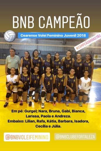 BNB - Campeão Cearense - Volei Feminino Juvenil 2018 - Dexaketo